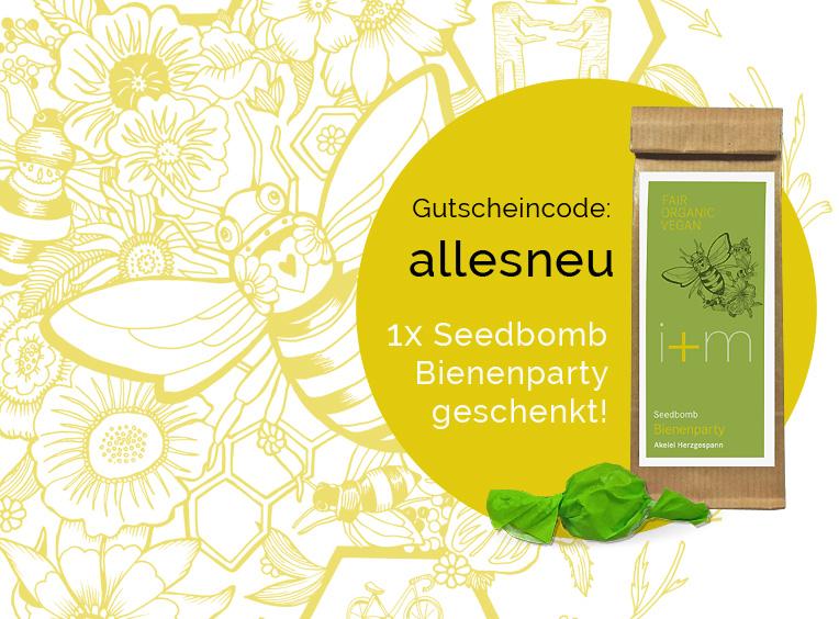 Seedbomb Bienenparty gratis im neuen i+m Shop!